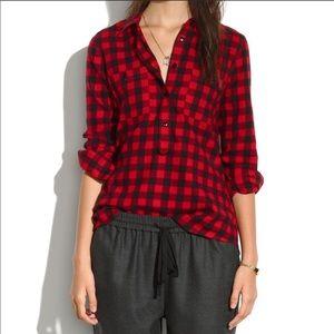 Madewell Buffalo Plaid Popover Shirt XS